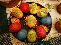 Easter cakes and eggs. The celebration of Easter and the preparation of festive food. Details royalty free stock photography