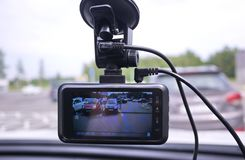 A device for monitoring the situation on the road. Installed in the car. Details and close-up royalty free stock photo