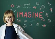 Imagínese el concepto del icono de la educación de la libertad de los niños Imagenes de archivo