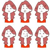 Facial expression of permanent long-haired women 6 types. The imagrs of Facial expression of permanent long-haired woman 6 types stock illustration