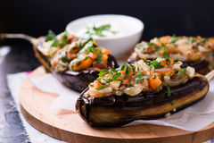 Imam Bayildi. Eggplants stuffed with vegetables Royalty Free Stock Photos