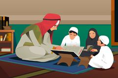 Imam Reading Quran With son illustration d'étudiants illustration libre de droits
