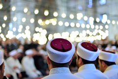 Imam turban. ISTANBUL, TURKEY - DEC 14: Hafiz diploma program in the Fatih mosque on December 14, 2014 in Istanbul, Turkey. Ashara Takrip graduated from the Royalty Free Stock Images