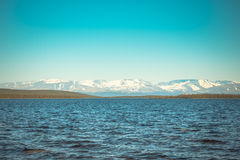 Imandra Lake and Hibiny mountains Northern Landscape Stock Photo