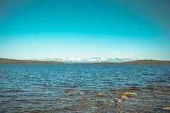 Imandra Lake and Hibiny mountains Northern Landscape Stock Image