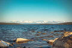 Imandra Lake and Hibiny mountains Northern Landscape Royalty Free Stock Photos