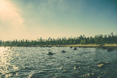 Imandra Lake and Tundra forest Northern Landscape moody scenery Royalty Free Stock Photos