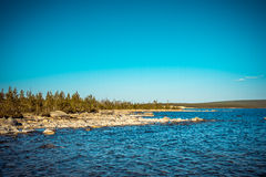 Imandra Lake and Tundra forest Northern Landscape Stock Photos