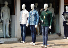 IMannequins in front of a clothes retail shop. Mannequins with dress as a promotional activity in front of a clothes retail shop on March 6,2016 in Hyderabad stock photography