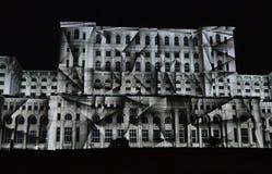 Imapp 2016, Lichter auf dem Haus der Leute, Bukarest Lizenzfreie Stockbilder