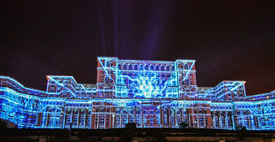 Imapp 2016, Lights on the house of the people, Bucharest. Screenings lights on the house of the people, Bucharest, Romania stock images