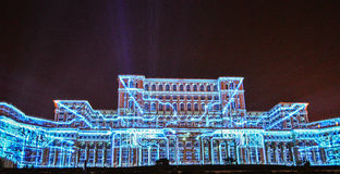 Imapp 2016, Lights on the house of the people, Bucharest. Screenings lights on the house of the people, Bucharest, Romania stock image