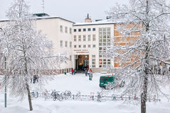Imatra Φινλανδία Το φινλανδικός-ρωσικό σχολείο της ανατολικής Φινλανδίας Στοκ Εικόνες