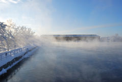 Imatra, Finland. Reservoir. Imatra Reservoir in white  winter fog. Finland Stock Photography