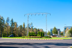 Imatra, Finland. Transmission Tower Monument. IMATRA, FINLAND - SEPTEMBER 13, 2016: Transmission Tower Monument at the entrance to the city not far from The royalty free stock images