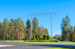 Imatra, Finland. Transmission Tower Monument. IMATRA, FINLAND - SEPTEMBER 13, 2016: Transmission Tower Monument at the entrance to the city not far from The stock photography