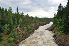 Imatra, Finnland. Fluss Vuoksa Stockfotos