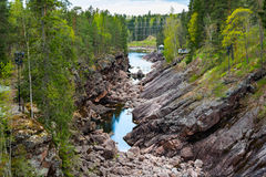 Imatra, Suomi or Finland. Vuoksa river and rocky canyon view in Imatra, Finland Stock Images