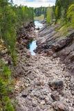 Imatra, Suomi or Finland. Vuoksa river and rocky canyon view in Imatra, Finland Royalty Free Stock Photo