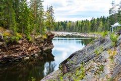 Imatra, Suomi or Finland. Vuoksa river and rocky canyon view in Imatra, Finland Royalty Free Stock Photos