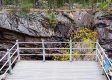 Imatra, Suomi or Finland. Vuoksa river and rocky canyon view in Imatra, Finland Royalty Free Stock Photography