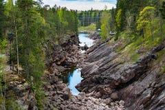 Imatra, Suomi or Finland. Vuoksa river and rocky canyon view in Imatra, Finland Stock Photo