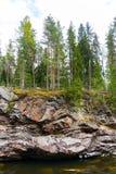 Imatra, Suomi or Finland. Vuoksa river and rocky canyon view in Imatra, Finland Royalty Free Stock Image