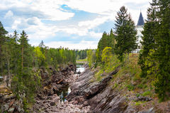 Imatra, Suomi or Finland. Vuoksa river and rocky canyon view in Imatra, Finland Royalty Free Stock Images