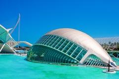 IMAX 3D戏院在艺术和科学城市在巴伦西亚,西班牙 免版税库存图片