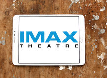 Imax theatre logo. Logo of imax theatre on samsung tablet. IMAX is a Large Format System of Presenting Movies and Motion Pictures II Royalty Free Stock Photos