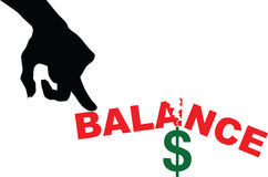 Imbalance in finances. Creative with the dollar. Vector illustration Stock Photography
