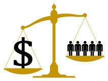 Imbalanced scale with people and a dollar sign Stock Images