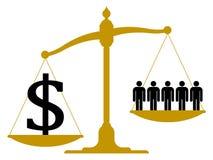 Imbalanced skala z ludźmi i dolarowym znakiem Obrazy Stock