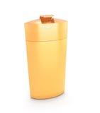 Imballaggio cosmetico arancio, sciampo di plastica o bottiglia del gel della doccia Immagini Stock
