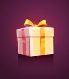Imballaggio del contenitore di regalo della festa di Natale con il nastro Fotografia Stock