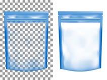 Imballaggio di plastica vuoto trasparente con la chiusura lampo Sach in bianco della stagnola illustrazione vettoriale