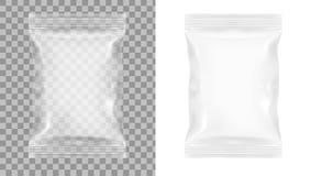 Imballaggio trasparente per gli spuntini, le patatine fritte, lo zucchero, le spezie, o l'altro alimento fotografia stock