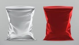 Imballando per gli spuntini, chip d'imballaggio derisione di vettore 3d su illustrazione di stock