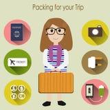 Imballando per il viaggio Fotografie Stock