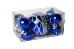 Imballato nelle palle trasparenti di Natale della scatola di plastica Fotografia Stock Libera da Diritti