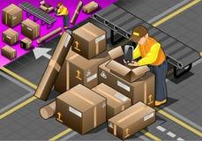 Imballatore isometrico sul lavoro con le scatole Fotografia Stock Libera da Diritti