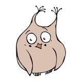 Imbarazzante divertente, timido svegli ed arrossiscono Owl Bird Isolato su una priorità bassa bianca Vettore disegnato a mano Ill Fotografia Stock Libera da Diritti