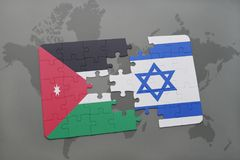 imbarazzi con la bandiera nazionale del Giordano e dell'Israele su un fondo della mappa di mondo Fotografia Stock