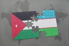 imbarazzi con la bandiera nazionale del Giordano e dell'Uzbekistan su un fondo della mappa di mondo Immagini Stock Libere da Diritti