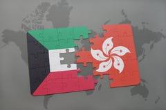 imbarazzi con la bandiera nazionale del Kuwait e di Hong Kong su un fondo della mappa di mondo Immagini Stock Libere da Diritti