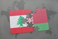 imbarazzi con la bandiera nazionale del Libano e della Bielorussia su un fondo della mappa di mondo Fotografia Stock