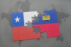 imbarazzi con la bandiera nazionale del peperoncino rosso e del Liechtenstein su un fondo della mappa di mondo Immagini Stock