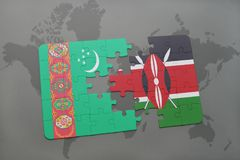 imbarazzi con la bandiera nazionale del Turkmenistan e del Kenia su una mappa di mondo Immagini Stock