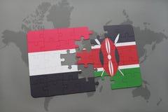 imbarazzi con la bandiera nazionale del Yemen e del Kenia su una mappa di mondo Immagini Stock Libere da Diritti