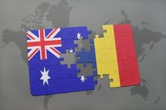 imbarazzi con la bandiera nazionale dell'Australia e del ritaglio su un fondo della mappa di mondo Fotografia Stock Libera da Diritti